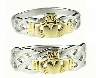14K White Gold Sterling Silver Celtic Claddagh Band Wedding Ring Set