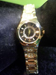 Ladys Allude Quartz Watch Gold Tone Band Set W Rhinestones New