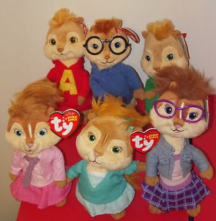 ALVIN,SIMON,THEODORE,BRITTANY,ELEANOR&JEANETTE Beanie Baby Chipmunks