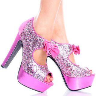 Pink Suede Glitter Metallic Peep Toe Womens High Heel Platform Shoes