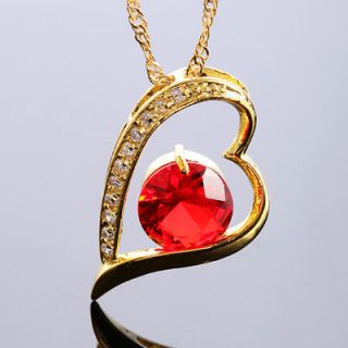 JEWELRY *ROUND HEART CUT RED RUBY GOLD TONE PENDANT NECKLACE FOR DRESS