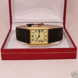 Cartier Authentic Mens or Ladies Tank Watch with Red Presentation Box