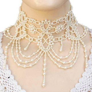 CREAM PEARL GRAND VICTORIAN BEADED NECKLACE CHOKER STATEMENT JEWELRY