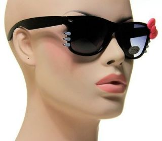 New Cute Ladies Hello Kitty Shades Medium Black Frame With Pink Bow