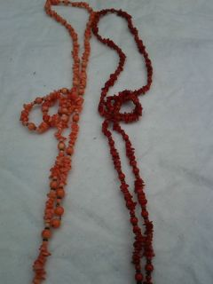 Coral and Red Coral Beaded Lariet necklaces  2 necklaces