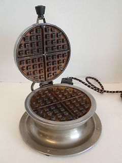 Vintage Meteor Electric Round Waffle Maker Art Deco Stand Footed Retro