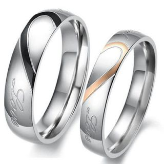 New Heart shaped Titanium Steel Promise Ring Couple Wedding Bands