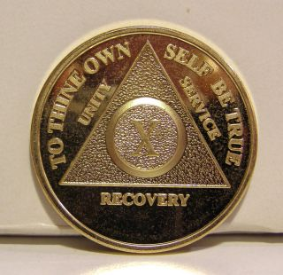 Alcoholic 10 Year Recovery (Gold Plated) Chip Medallion Medal Token AA