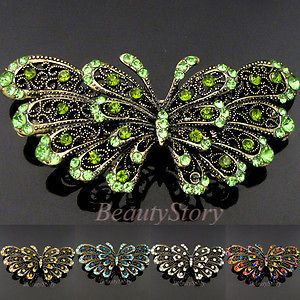 ADDL Item FREESHIPPING antiqued rhinestone crystal Butterfly hair