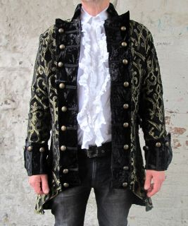 Black Gold Pirate Regal Gothic Military Jacket Coat Brocade Quality