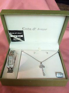Beautiful Cote d Azur Ladies Watch, earings and necklace set. New in
