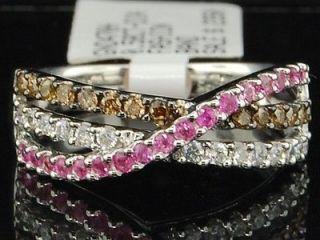 Ladies White Gold Round Cut Pink Sapphire Champagne Diamond Engagement