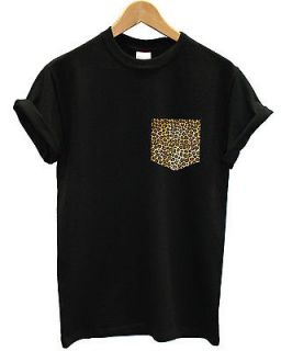 LEOPARD PRINT HAND STITCHED POCKET T SHIRT TOP INDIE SWAG DOPE INCT