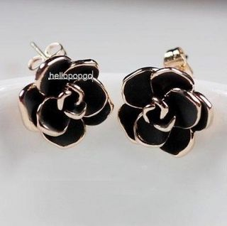 18K Rose Gold GP Swarovski Blue Rose Flower Cute Earrings C228