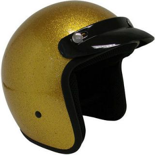 Metalflake Gold Motorcycle Open Face Helmet Cafe Racer Vintage Cruiser