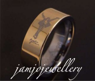 MICHAEL JACKSON MEMORIAL 8MM GOLD TUNGSTEN CARBIDE RING