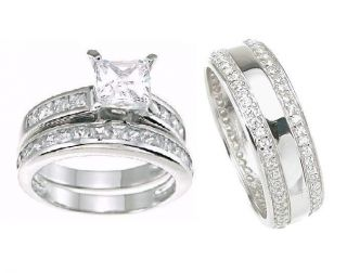 His and Hers Wedding Rings Bands Matching Set Womans Size 5 12; Mans