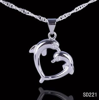 1pc Charms Love Dolphin Heart Dangle 20mm 925 Sterling Silver Pendant