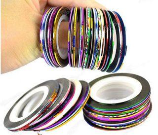 30Pcs Mixed Colors Rolls Striping Tape Line Nail Art Decoration