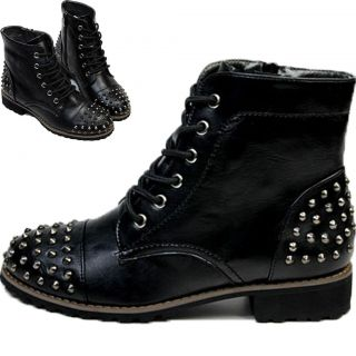 spikes studded sequin boots military lace up army combat ankle