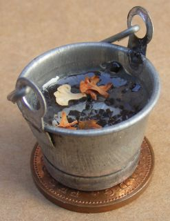 12 Scale Small Metal Bucket Of Rain Water Dolls House Miniature