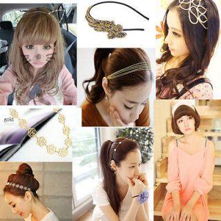 Various Star Crochet Hollow Rose Flower Ribbon Cat Ear Chains Headband