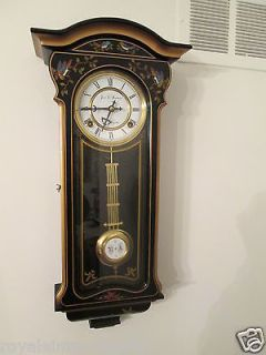Clock Traditional 31 Day Movement Black Case Birds Gold Hand Painted