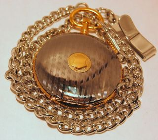 MAJESTRON PETITE SILVER TONE SHIELD POCKET WATCH