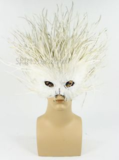 Masquerade Mask Men White Feather Lion Costume Carnivale New Years