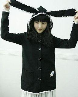 New Cosplay Japanese Emo Bunny Lolita Goth Ear Shirt Top Jacket Hoodie