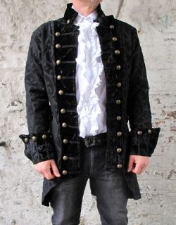 Black Pirate Regal Gothic Military Jacket Coat Brocade Quality