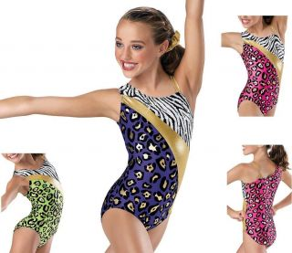 NEW Purple Pink Lime Foil Cheetah Leopard Zebra Dance Gymnastics