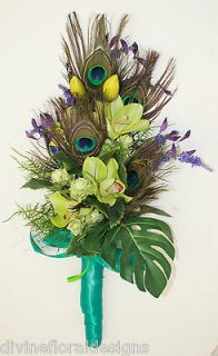 WEDDING FLOWERS, BRIDE / BRIDESMAID PEACOCK FEATHER GREEN, BLUE