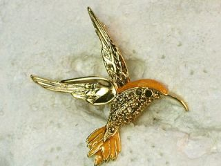 Newly listed YELLOW RHINESTONE CRYSTAL HUMMINGBIRD PIN BROOCH H176