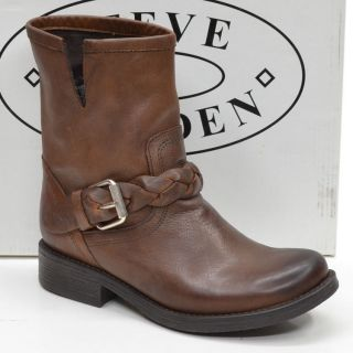 New NIB STEVE MADDEN Flaiir Made in Mexico Brown Harness Buckle Ankle