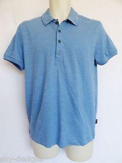 Hugo Boss Blue Polo Golf Shirt Black Label Teatina Reg Fit Mens L $125