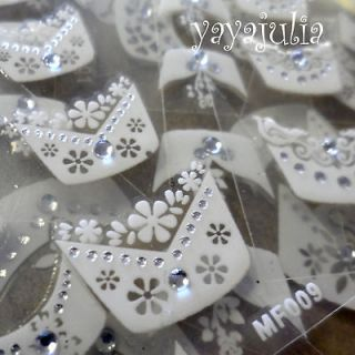 3D Nail Art Stickers Rhinestone French Style MF