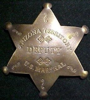 Arizona Terr. Deputy US Marshal brass lawman badge #104AF