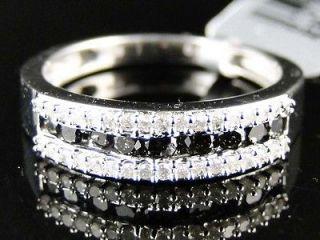 Womens White Gold Finish Round Cut Black Diamond Wedding Band Ring 1/2