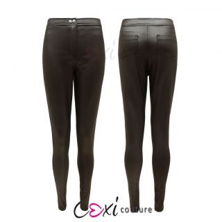 NEW LADIES SHINY WET LOOK HIGH WAISTED DISCO PANTS LEGGINGS WOMENS
