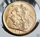 1914 BRITISH SOVEREIGN GOLD COIN KING GEORGE V PERTH