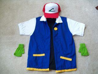 ASH KETCHUM Pokemon Trainer 5 pc COSTUME~ Boys Sizes 8, 10/12, 14/16