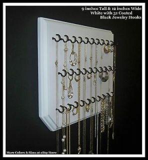 9x12 White 31 Black, Necklace Holder, Jewelry Organizer, Hanging Wall