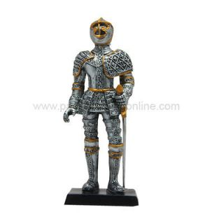 DOLL HOUSE MINIATURE 4 MEDIEVAL ELITE TEMPLAR KNIGHT STATUE SUIT OF