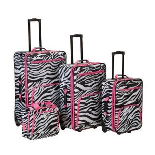 Rockland Fashion Expandable 4 Piece Luggage Set   Pink Zebra