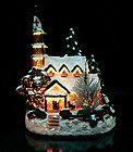 Christmas Snow Village Fiber Optic Church Chapel Winter Holiday