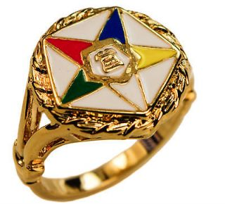 Freemasonry Order of the Eastern Star Ring OES 18K gold overlay size 5