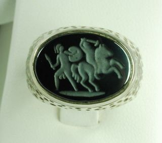 Mens Heavy Sterling Silver Ring with an Intaglio Hematite of Roman