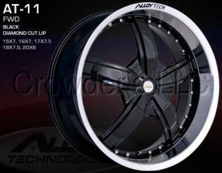 Alloy Tech Car Wheel Rim AT 11 Black 18 in 5 Lug