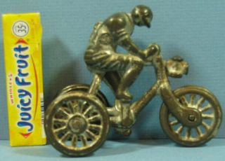 OLD IVES? CAST IRON MAN ON 3 WHEEL BICYCLE AUTHENTIC & OLD PULL TOY